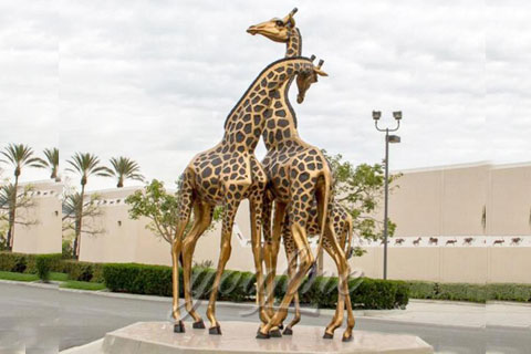 Animal decorative statue brass giraffe statue for sale