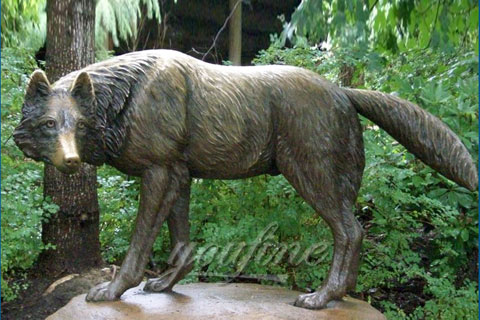 Antique Garden Life Size Bronze Wolf Statues For Sale