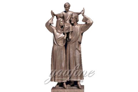 Bronze Jesus family Religious Holy Family Statue