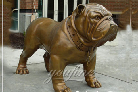 Metal Animal Art Life-Size Cast Bronze Bulldog Statue