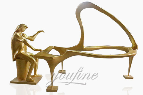 Outdoor abstract bronze music sculpture