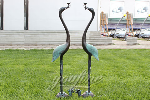 large outdoor garden bronze metal crane sculpture