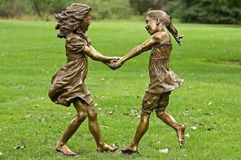 2017High Quality life size outdoor Bronze Children Statues Wholesale