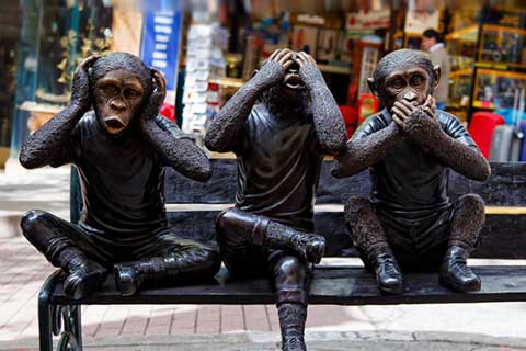 life size Animal Sculptures Three Bronze Monkeys Statues for Garden Decor