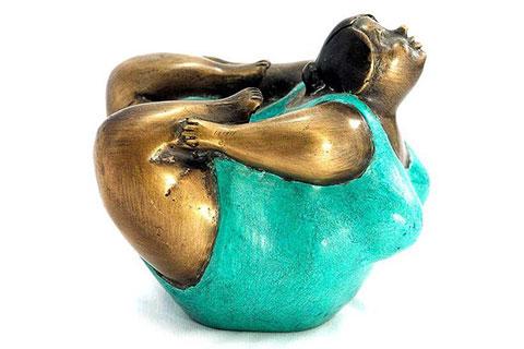 Excellent Casting Bronze YogaFatLadySculpture