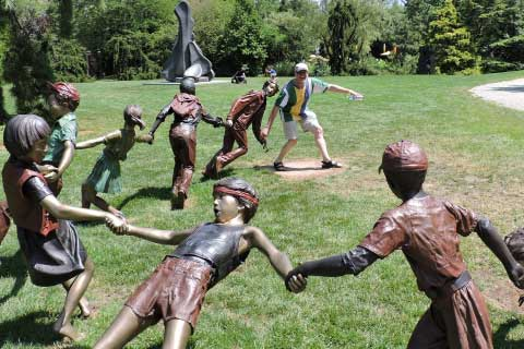 Popular design outdoor Garden & Yard Bronze Sculpture with Children Playing