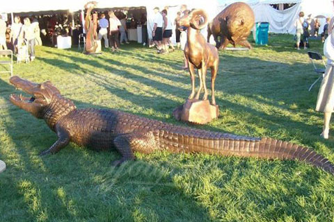 BOK-212 Bronze Animal Crocodile Garden Statue with Cheap Price Bronze Alligator Statue for Sale