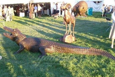 BOK-212 Bronze Animal Crocodile Garden Statue with Cheap Price Bronze Alligator Statue for Sale