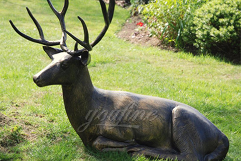 BOK-246 Life Size Art Deer Statue Antique Bronze Animal Sculpture for Garden Decor
