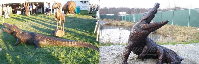 antique bronze crocodile sculpture for sale