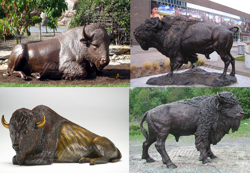 life size bronze american bison statue for sale