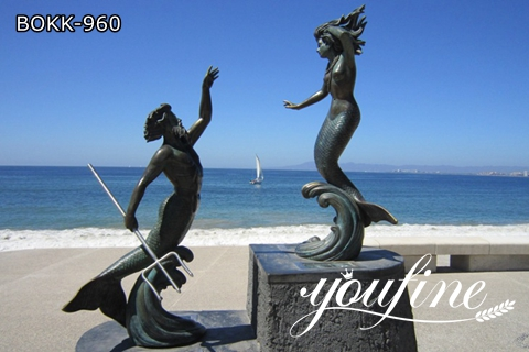 Romantic Bronze Mermaid Statues